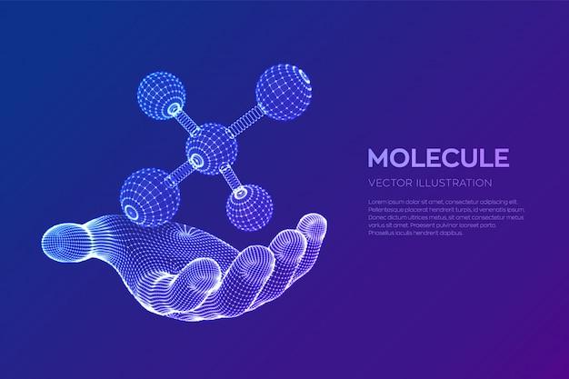 手に分子。 dna、原子、ニューロン。分子と化学式。