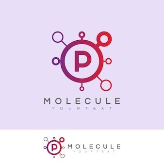 Molecule initial letter p logo design