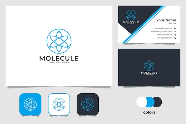 분자 라인 아트 로고 디자인 및 명함