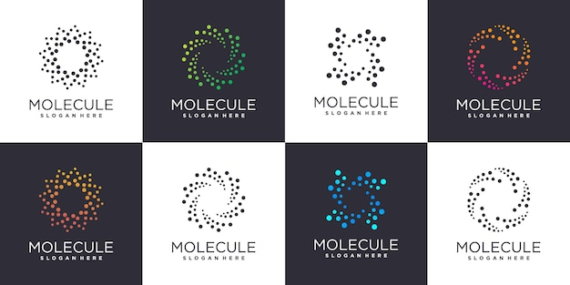 Molecule logo set with creative element style premium vector