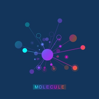 Molecule logo template icon, science genetics logotype, dna helix. genetic analysis, research biotech code dna, molecules. biotechnology genome chromosome. vector illustration. Premium Vector