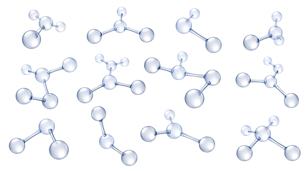 Molecule model. hyaluronic acid molecules, chemical science organic molecular structure and reflecting molecules models   set
