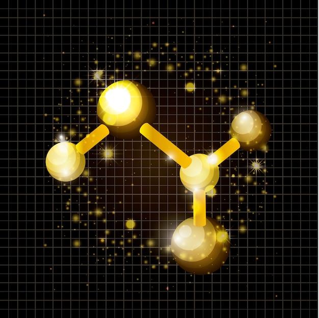 Molecule structure golden icon vector illustration design