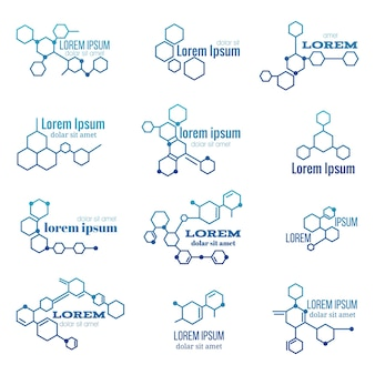 Set di loghi della struttura della molecola
