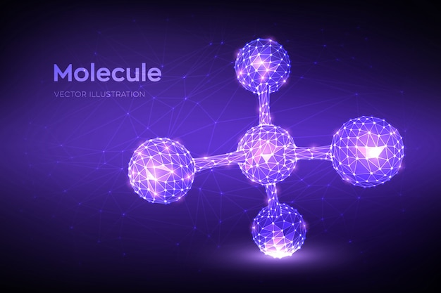 Структура молекулы. низкая многоугольная абстрактная молекула. днк, атом, нейроны.