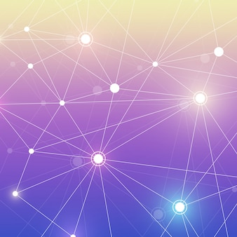 Молекулярная структура с частицами. научно-медицинские исследования. наука и технологии backgroud. молекулярная концепция. иллюстрации.