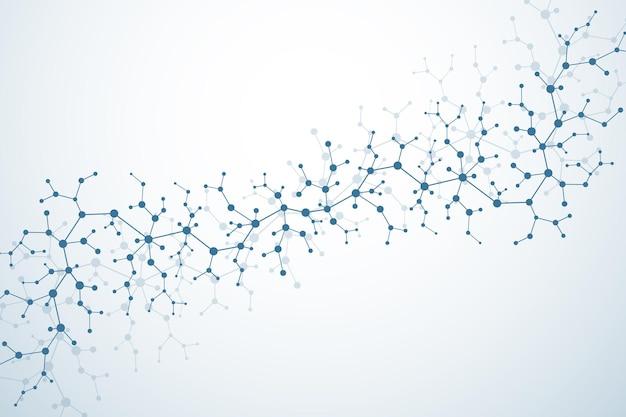 입자가 있는 분자 구조. 과학적 의학 연구. 과학 및 기술 배경입니다. 분자 개념입니다. 벡터 일러스트 레이 션.