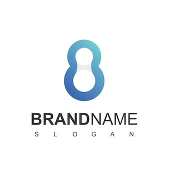 Molecule technology logo design template with eight initial number