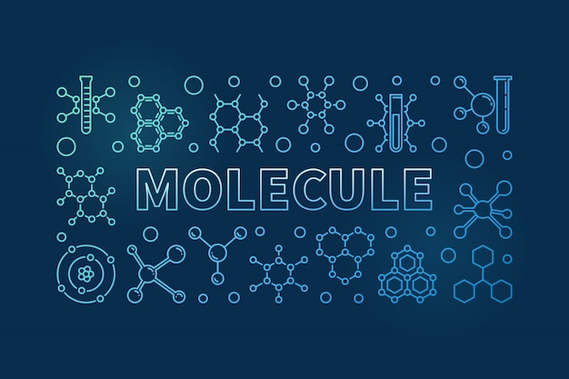 Molecule vector blue linear horizontal background