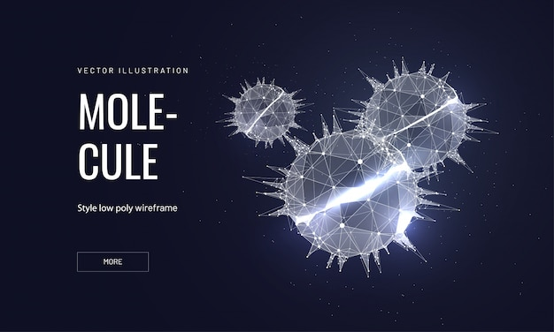 Molecules in polygonal wireframe style