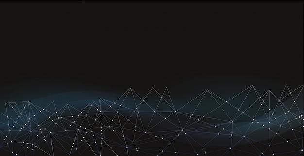 Молекулы технологии с темно-синим фоном многоугольников.