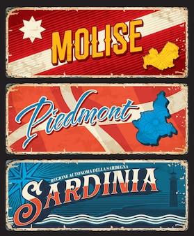 Molise, piedmont 및 sardinia 이탈리아 지역 녹슨 판. 이탈리아 지역의 허름한 주석 표지판, 영토 깃발과 국장 기호가 있는 지저분한 접시, 지역 지도 실루엣 및 해변의 등대