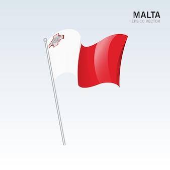 グレーに分離されたモルタ手を振る旗