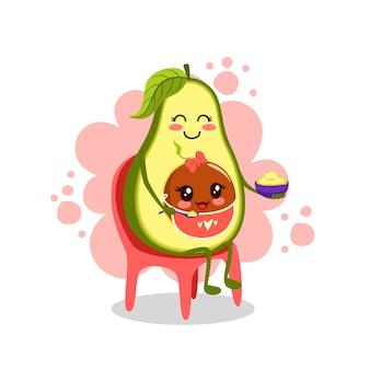 Мама и малыш едят альвокадо