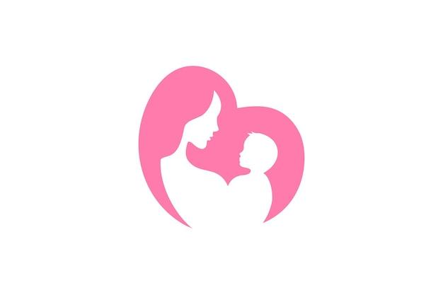ママと赤ちゃんのロゴのベクトル記号。ママは彼女の子供のロゴテンプレートを抱きしめます。