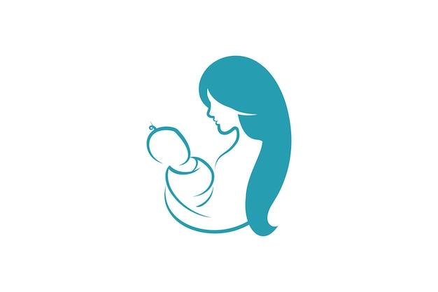 엄마와 아기 로고 벡터 기호입니다. 엄마는 아이 로고 템플릿을 껴안습니다.