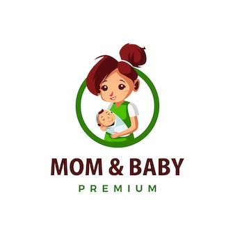 Мама и ребенок бьют вверх талисман персонаж логотип значок иллюстрации