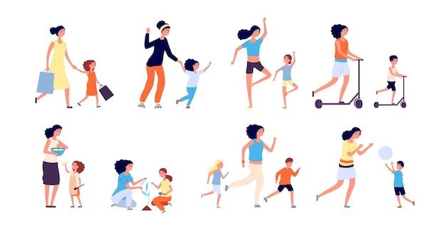엄마와 아이들. 가족 시간, 아이들과 어머니. 사람들은 요리와 교육, 정원 가꾸기와 놀기. 행복한 여자와 아기가 설정합니다. 어머니 함께 딸과 아들의 그림