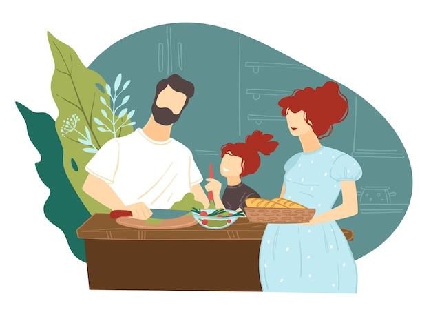 엄마와 아빠가 함께 저녁을 요리합니다. 저녁에 요리를 준비하는 딸과 함께 어머니와 아버지. 집안일을 부모를 돕는 아이. 가족 시간을 보내고, 평면 스타일 그림에서 벡터