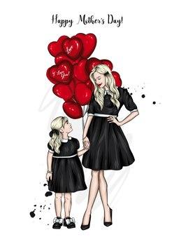 ママと娘と風船の心