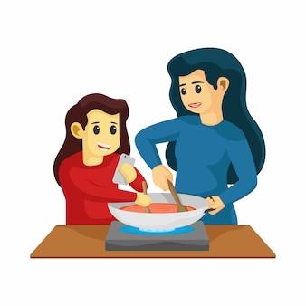 ママと娘が一緒にキッチンで料理