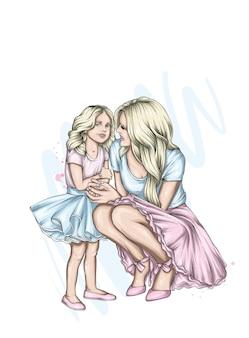 엄마와 딸이 아름다운 옷을 입고