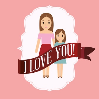 엄마와 딸이 당신을 사랑합니다 프리미엄 벡터