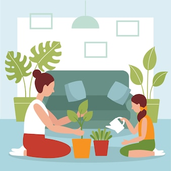 ママと娘の部屋に植物を植える