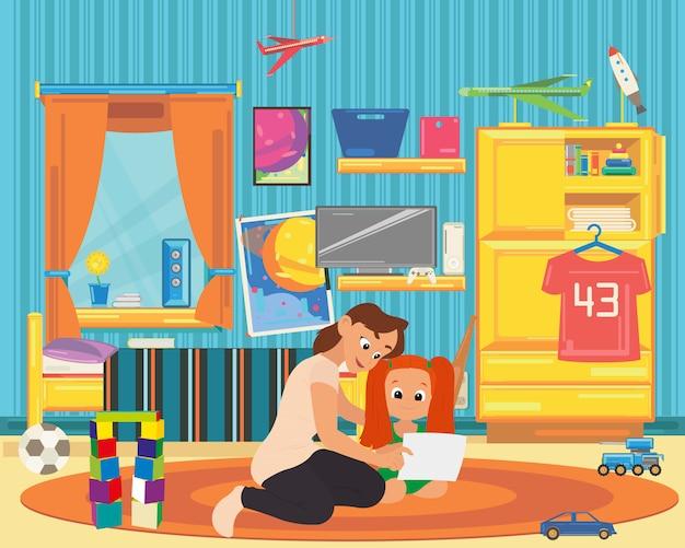 Мама и дочка играют и учатся в детской.