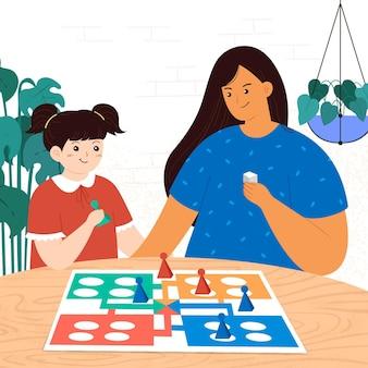 Мама и дочь играют в игру людо