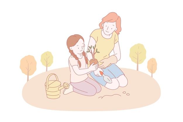 Мама и ее дочь вместе сажают деревья в парке