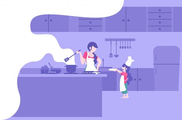 엄마와 아이가 함께 현대 평면 스타일 요리