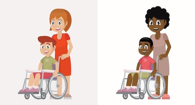 휠체어 벡터 eps10에 엄마와 아이
