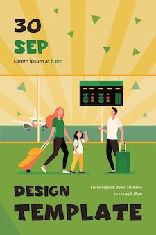 엄마와 작은 딸이 공항에서 아빠와 회의. 부모와 자녀, 수하물, 비행기 평면 플라이어 템플릿