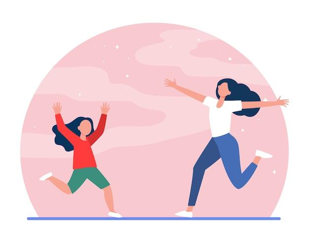 ママと小さな娘が両手を広げて互いに走っています。母、少女、子供フラットベクトルイラスト。親子関係、子供時代、子育て