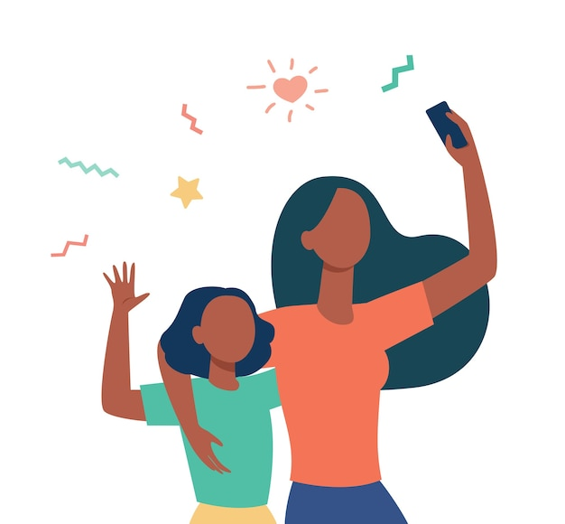 一緒に自分撮りをしているママと小さな娘。ビデオ通話にスマートフォンを使用して、こんにちはフラットイラストを振る