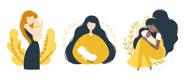 ママと生まれたばかりの赤ちゃん。子供を持つさまざまな女性のセット。感動的なポートレート。フラットな漫画のスタイルでモダンなかわいいイラスト。白い背景の上の孤立した文字