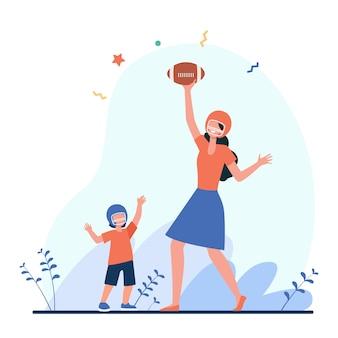 サッカーをしているママと息子。ヘルメットをかぶった母と子がボールを投げたりキャッチしたりするフラットイラスト