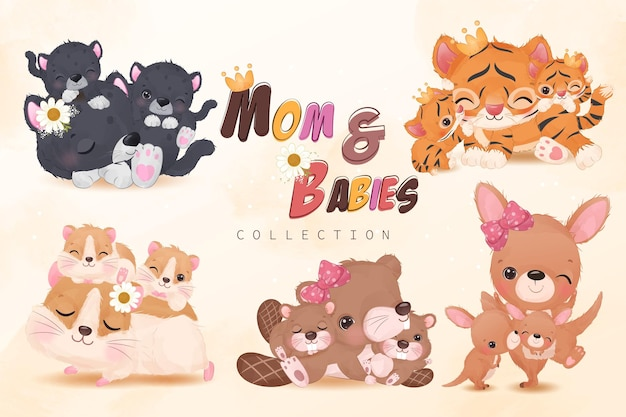 Mom and baby animals collection set