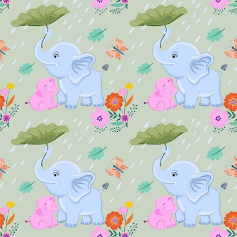 Mom and baby elephant vector design.