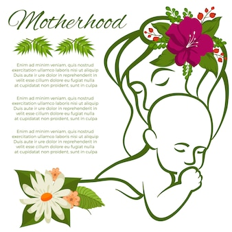 Mom and baby line silhouette and flowers