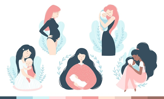 Mom and baby set. women in various poses with babies, pregnancy.