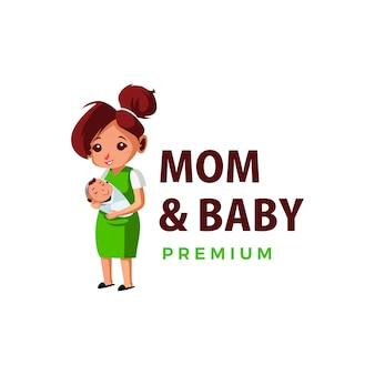 Mom and baby thump up mascot character logo  icon illustration