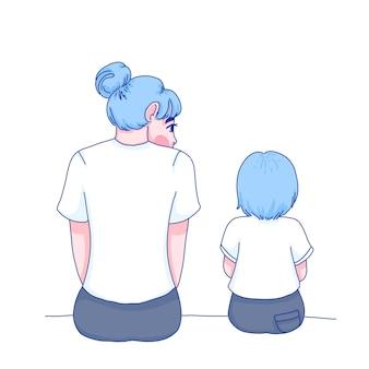 Mom care daughter character cartoon illustration.