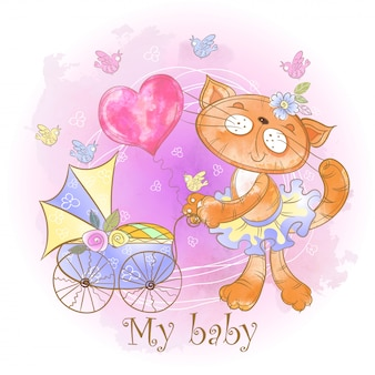Mom cat with a baby in a stroller. my baby. baby shower.