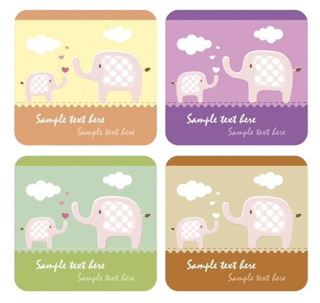 Mom and child elephants cards