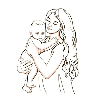 Mom and child realistic silhouette sketch