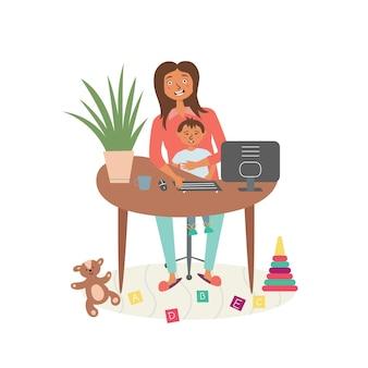 Mom child remote work