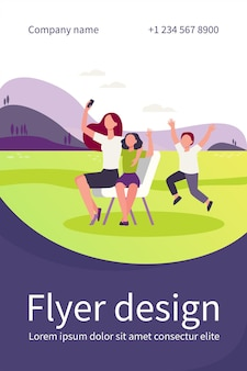 Mom and children taking selfie outdoors. using smartphone for video call, waving hello flat flyer template