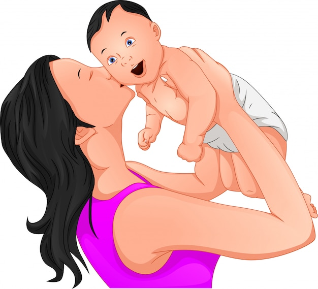 Mom and cute baby